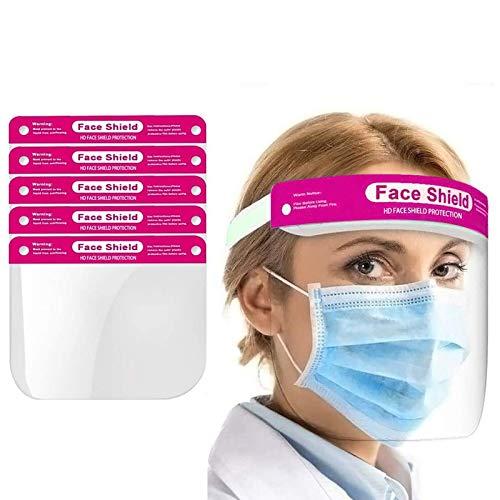 True Face Shield (20 unidades) Máscara de protección de gafas de cara completa de EPP, plástico transparente, color rosa