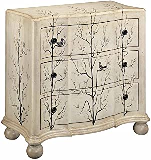 Stein World 11303 One 3-Drawer Chest with Hand Painted Aviary Scene on a Cream Finish, 38.25 by 18 by 34.75-Inch