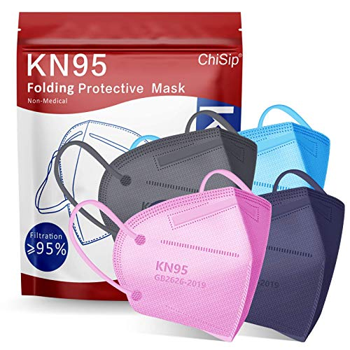 KN95 Face Mask 20Pcs, 5 Layer Design Cup Dust Safety Masks, Breathable Protection Masks Against PM2.5 Dust Bulk for Adult, Men, Women, Indoor, Outdoor Use, Colorful