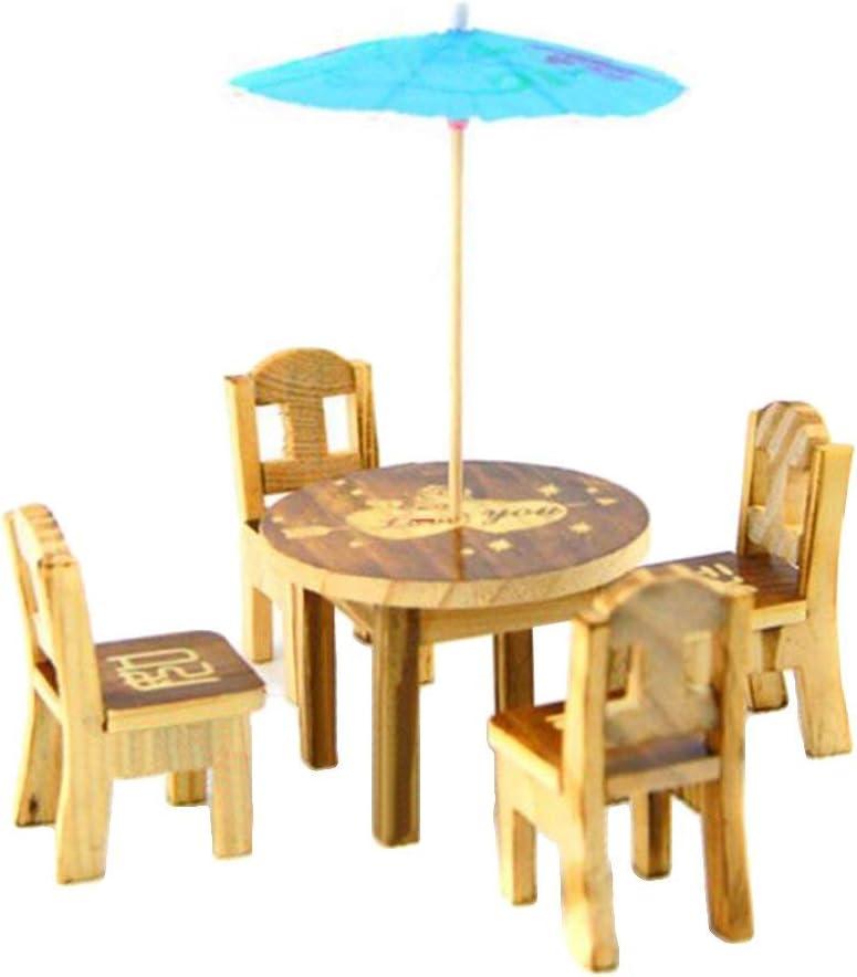 6Pcs Set Sales for sale Miniature Fairy Wooden Umbrella Over item handling Garde Desk Dollho Chair