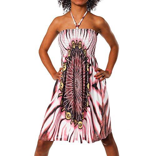 Diva-Jeans Damen Sommer Aztec Bandeau Bunt Tuch Kleid Tuchkleid Strandkleid Neckholder H112, Größen:Einheitsgröße, Farben:F-021_Rot