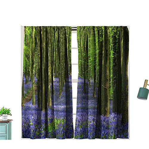 Hiiiman Rod Pocket Window Curtains Bluebell Woods UK 100% Blackout for Bedroom Living Room, W72 x L72