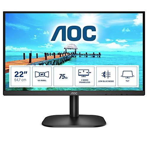 """AOC Monitor 22B2H- 22"""" Full HD, 75Hz, VA, Flickerfree, 1920x1080, 200cd/m, D-SUB, HDMI"""