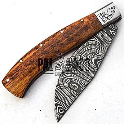 PAL 2000 Damascus Knives - Handmade Damascus Steel Folding Pocket Knife With Sheath - Unlockable Folding Knife - Buy With Confidence SPSN-9697