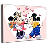 Histivich Personalized Canvas Pictures Wall Mural Anime Cartoon Minnie and Mickey Mouse Posters Lounge Bathroom Kitchen Office Bedroom Decoration 12x08inch