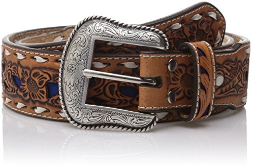 Nocona Men's Natural Blue Wide Buckstitch, Blue, 34