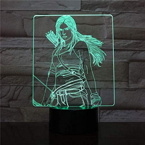 Lámpara de ilusión 3D Luz de noche LED USB Katniss Everdeen Figura Niños Niño Niños Regalos para bebés Juegos del hambre decorativos Lámpara de mesa Mesita de noche-16 colors remote