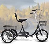 3 Wheel Adult Tricycle, With Removable Basket, 20 Inch Wheels Trike For Seniors Men And Women, Tricycles Cruise Bike Three Wheel Bicycles, Exercise Bike For Recreation And Shopping, Recumbent Bikes
