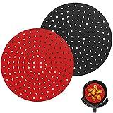 Nuovoware 2 PZS Liners de Freidores de Aire Reutilizables, 8 Pulgadas Bandeja Redonda de Silicona, Accesorios de Aire Freidor Reemplazo BPA Free - Negro + Rojo