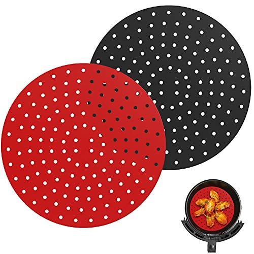Nuovoware [2 PZ Tappetino da Friggitrici ad Aria Rotondo, 23 cm Tappetino Perforato Antiaderente per Cottura a Vapore Fodere per Friggitrice Riutilizzabile per Friggitrici e Vaporiere - Nero&Rosso