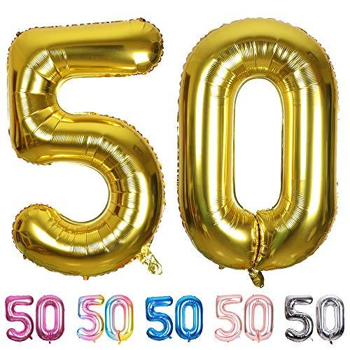 SMARCY Palloncini Gonfiabile Numero 50 Palloncini Compleanno 50 Anni Decorazioni Compleanno d oro