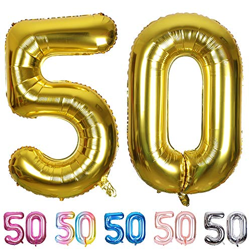 SMARCY Palloncini Gonfiabile Numero 50 Palloncini Compleanno 50 Anni Decorazioni Compleanno d'Oro