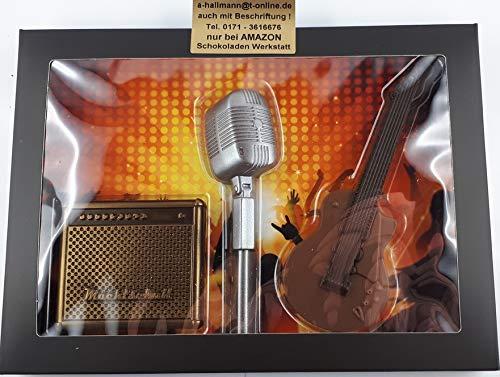 04#122921 Schokolade Musiker Set, Mikrofon, Gitarre, Verstärker, Geschenk, Geburtstag, Musiker, Tortendeko,