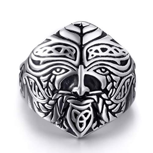 Elfasio Green Man Celtic Deity Symbol Men Stainless Steel Ring Vintage Jewelry Size 11