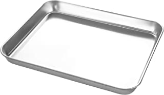 Small Stainless Steel Baking Sheets,Mini Cookie Sheets, Toaster Oven Tray Pan Rectangle Size 9Lx7Wx1H inch Non Toxic & Healthy,Superior Mirror Finish & Easy Clean by HEAHYSI, Dishwasher Safe
