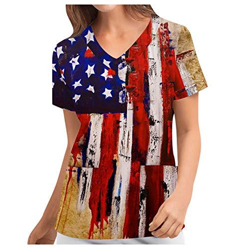 T-Shirt Frauen Positionierung Independence Day Flag Print Kurzarm Workwear Top (XXL,4b)