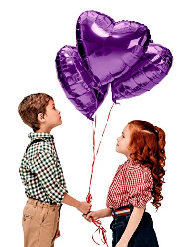Lavender Heart Shaped Balloons Pack of 12 Foil Mylar 18 inch Balloons for Mother's Day Engagement Bridal Shower Birthday Wedding Valentines Day Decoration