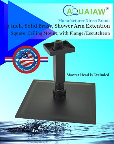 Aquaiaw Shower Arm and Flange, 3 inch, Solid Brass, Square, Matte Black, Both 1/2 NPT Shower Extension, Straight Shower Arm Extension, Ceiling Mount Shower Head Extension Arm, Rain Shower Head Arm