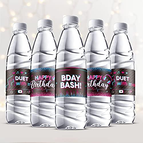 Clabby 39 Etiquetas de Botellas de Agua de Fiesta de Música Etiqueta de Botella de...