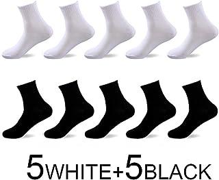 10 Pares/Calcetines Blancos para Hombres Calcetines Casuales Deportivos Negros Calcetines De Tubo De Piso Interior para Baño De Hombres