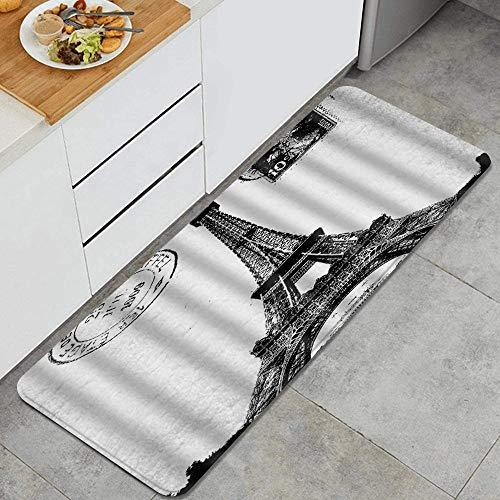 LISNIANY Tappeto antiscivol,Francese Parigi Torre Eiffel Città dell'amore Nero Bianco,da Usare Come zerbino o per Soggiorno,Camera da Letto,corridoio,Cucina