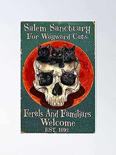 Salem Sanctuary for Wayward Cats - Póster de esqueleto para imprimir, gran decoración de pared, decoración de habitación para el hogar, dormitorio, compañeros de clase, colegas, mejores.