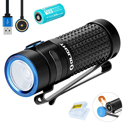 Olight S1R II Baton Small Flashlight 1000 lumens 138 Meters CW LED Compact Torch Light Rechargeable Side Switch EDC Flashlight with Rechargeable BatteryBanTac Battery Case