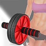Ociodual Rueda Abdominal AB Wheel Abdominales Roller Gimnasio en Casa con Alfombra Rojo