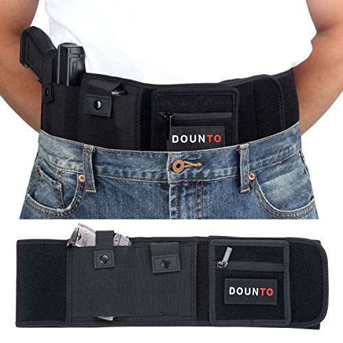 DOUNTO Belly Band Holster for Concealed Carry, Tactical Elastic Gun Holster Fits Glock, Sig Sauer Gun Smith and Wesson Bodyguard - Black
