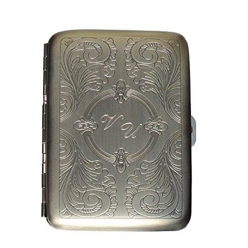 schmales Zigarettenetui Metall satiniert ZE330 mit SOFORTGRAVUR + VORSCHAU: Gravur der Initalen oder des Vornamens inklusive.(Cigarette case)