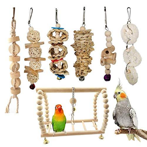 Laqemhu Juguete de Jaula para pájaros, Hamaca de Juguete para Masticar Loro pequeño Colgante de Madera con Campanas, Adecuado para decoración de jaulas, Ejercicio de Juego, 7 Piezas