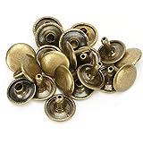 200 juegos de remaches de cuero de remache de doble tapa Espárragos de metal tubulares para reparaciones artesanales de cuero Bolsas Cinturones Sombrero Zapatos Costura Decoración 12x10mm(Bronce)