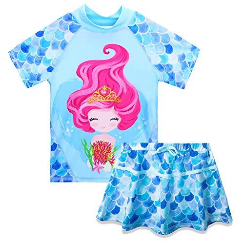 Huanqiue Zweiteiliger Badeanzug für Mädchen, Größe 3 bis 8 Jahre, kurzärmelig, Unisex Kinder, S274, GirlBlue wimsuit, 9-10 Jahre
