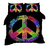 XWXBB - Juego de ropa de cama con diseño de símbolo de la paz, funda nórdica y dos fundas de almohada, microfibra, impresión digital 3D, juego de tres piezas, grueso y suave, A09, King 220x240cm