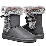 Women's Classic Fur Snow Boots Short Winter Boots, Lined Warm Lace up Anti-Slip for Outdoor, Size 7, Grey 38