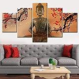 DPZDW para Sala de Estar Decorativo 5 unids/Set Flores Buda Foto Pared imágenes modulares HD póster impresión Lienzo Pintura