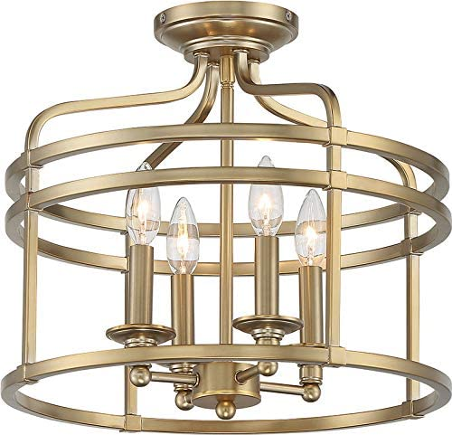 """popular Minka Lavery outlet sale 1094-740 Covent Park Metal Frame Candle Drum Semi Flush Ceiling Lighting, 4-Light 240 Total Watts, Brushed Honey Gold, 15""""H popular x 16""""W outlet sale"""