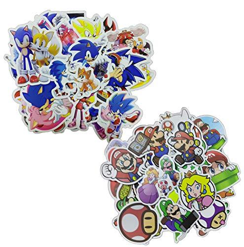 Sonic Super Mario Sticker 100 unids/set dibujos animados Anime diseño Super Mar etiqueta engomada linda DIY pegatinas para niños niñas juguetes clásicos regalos