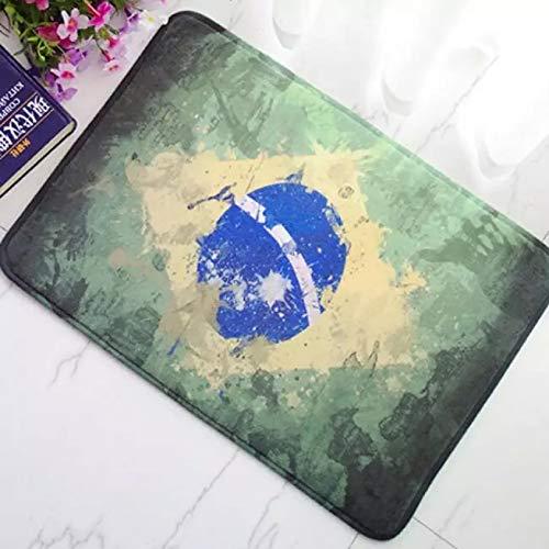 N/A Bandera de Grunge de Brasil Alfombra de Puerta de Bienvenida Alfombra desgastada Bandera de Brasil brasileña Decoración del hogar Felpudo Alfombra Alfombras de baño Decoracion hogar