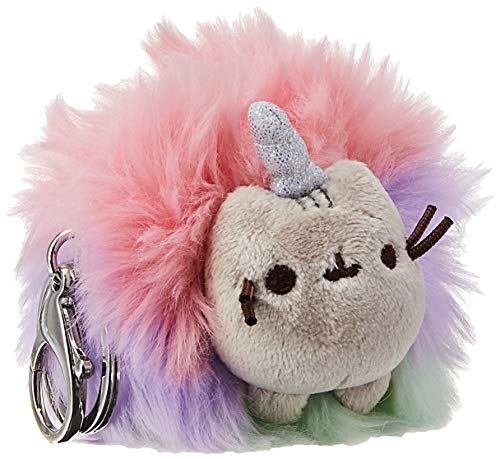 GUND Pusheen Rainbow Unicorn Cat Plush Pom Deluxe Keychain, 4