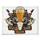 ottbrn Bannière décoration bière Roche pour pub Musique Live Guitare électrique Tapis Bain Bull Skull Tapis d'entrée antidérapant au Sol Porte d'entrée extérieure Tapis Bain 16X24 Pouces