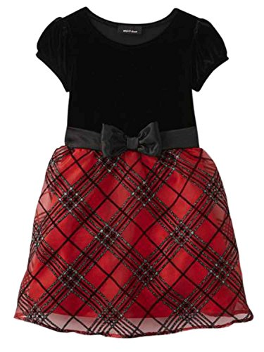 Amy's Closet Girls Red Red & Black Plaid Holiday Party Special Occasion Dress 6