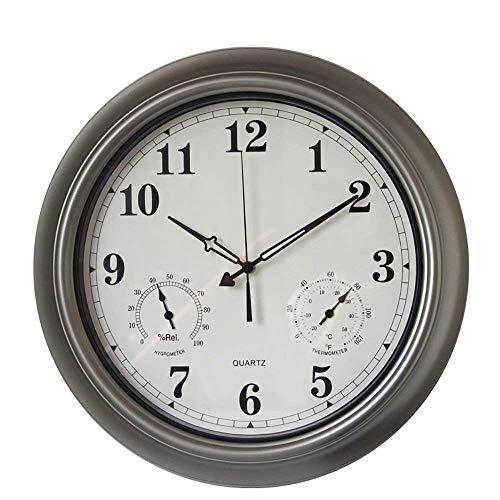 Qazxsw Reloj de Pared con termómetro e higrómetro, Reloj de Pared silencioso y silencioso para baño Cocina Cocina con números arábigos