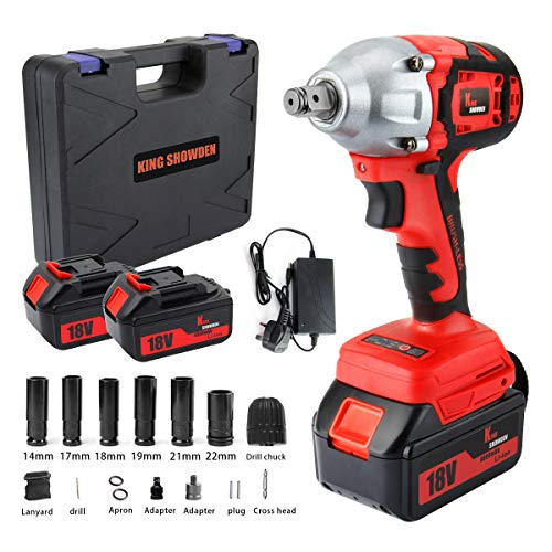Impact Wrench with 2 Battery, KINGSHOWDEN 18V CordlessImpactDriver Set, 4,000mAH Lithium Battery, 520N.M 1/2' Drive, Dual Speed Automatic Power Tool, 6 Impact Socket and Carry Case