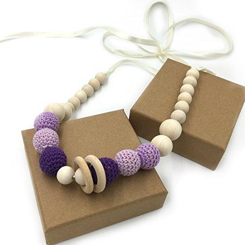 Coskiss Viola Crochet borda la collana dentizione Massaggiagengive collana sicuro con organico di legno naturale giocattolo mamma bambini collana legno Teether (Viola)