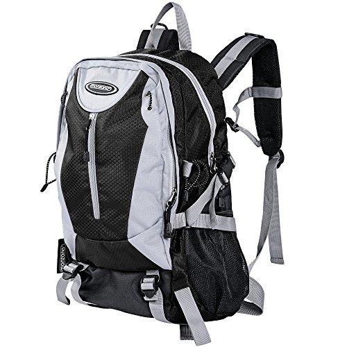 Monzana Rucksack Wanderrucksack | wasserabweisend | Laptopfach | 5 Fächer | schwarz - Schulrucksack Backpack Notebook Freizeitrucksack Bürorucksack Reiserucksack