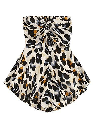 SweatyRocks Women's Off Shoulder Leopard Print Playsuit Strapless Romper Short Jumpsuit Multi Small