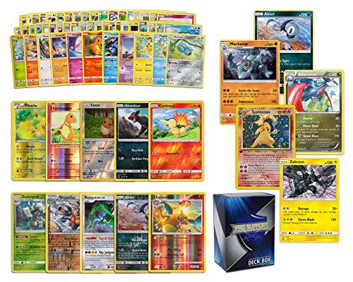 Holo Rare Pokemon Bundle- 60+ Cards= 50 Cards + 5 foil Cards, 5 foil Rare Cards, 5 Holographic Rare Cards, Plus a Pro Support Deck Box