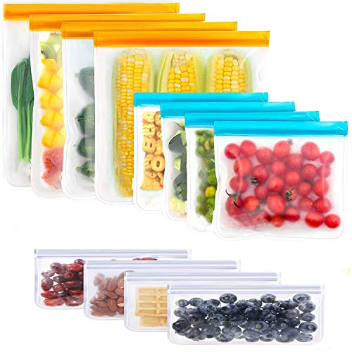 12 Pack Reusable Sandwich & Snack Bags Extra-Thick Reusable Food Storage Bags Freezer Bags Leak Proof Bags PEVA Lunch Bag...