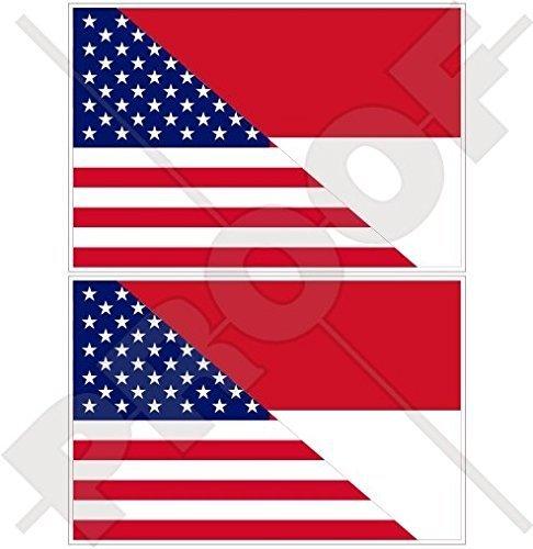 USA Vereinigte Staaten von Amerika und INDONESIEN, Amerikanisch und Indonesische Flagge, Fahne 75mm Auto & Motorrad Aufkleber, x2 Vinyl Stickers